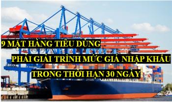 9 mặt hàng phải giải trình mức giá nhập khẩu trong thời hạn 30 ngày