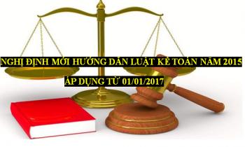 Nghị định mới hướng dẫn Luật kế toán năm 2015 – Hiệu lực từ 01/01/2017