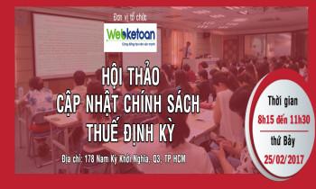 Webketoan CLB Kế Toán Trưởng DNNVV – Hội thảo cập nhật chính sách thuế kỳ 1 ngày 25/02/2017