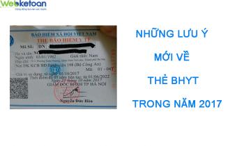 Tổng hợp những lưu ý mới về thẻ BHYT trong năm 2017