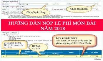 Nộp lệ phí môn bài năm 2018