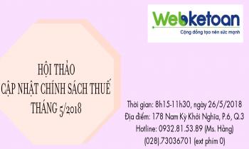 Hội thảo cập nhật chính sách thuế kỳ tháng 5/2018