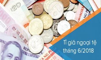 Tỷ giá hạch toán ngoại tệ tháng 6/2018