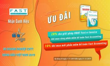 Ưu đãi đến 20% nhân dịp FAST nhận danh hiệu 50 doanh nghiệp CNTT hàng đầu Việt Nam