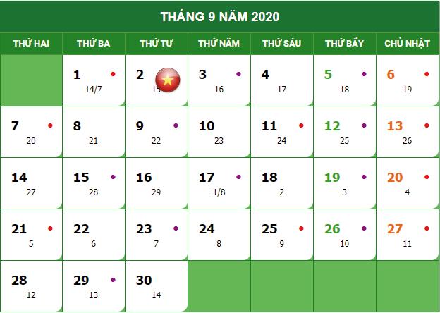 Nghỉ lễ quốc khánh 2/9/2020