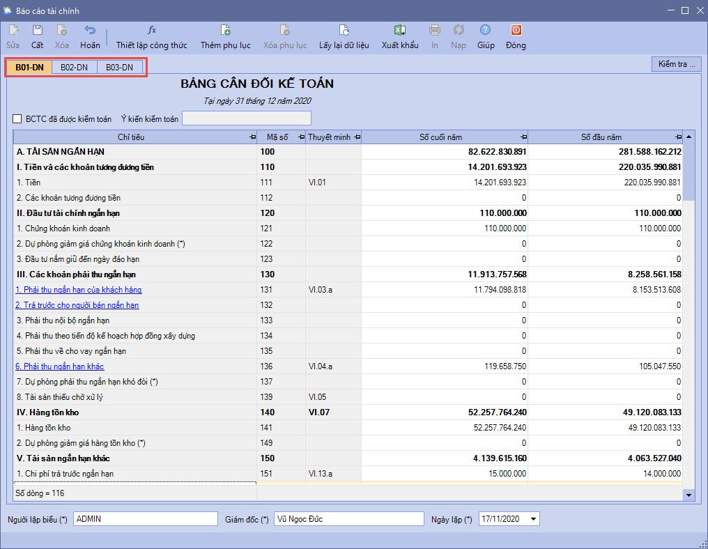 Mẫu báo cáo tài chính được tự động tổng hợp trên MISA SME.NET 2020