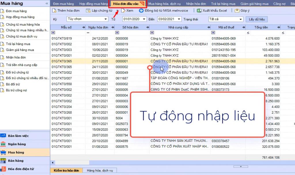 phần mềm quản lý hóa đơn đầu vào MISA meInvoice