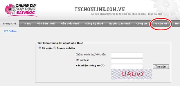 tra cứu thông tin người nộp thuế trên tncnonline.com.vn